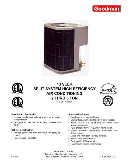13 seer split system high efficiency air conditioning 2 thru ... Goodman Ar Wiring Diagram Pdf on