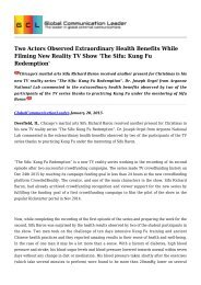 Two Actors Observed Extraordinary Health Benefits While Filming New Reality TV Show 'The Sifu: Kung Fu Redemption'