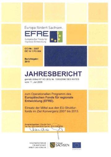 Jahresbericht EFRE 2010 - Strukturfonds in Sachsen - Freistaat ...