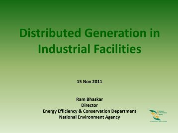 Distributed Generation in Industrial Facilities - Energy Efficiency