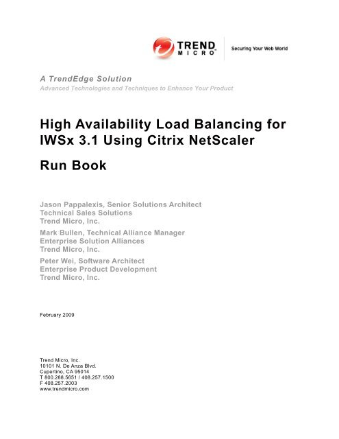 High Availability Load Balancing for IWSx 3 1 Using Citrix