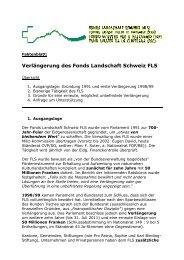 Verlängerung des Fonds Landschaft Schweiz FLS