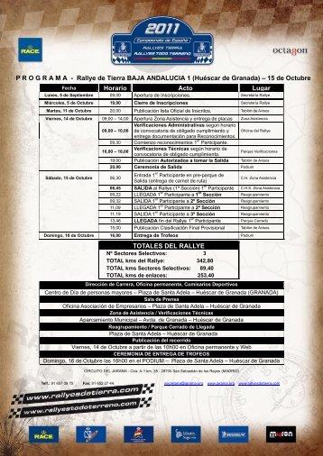 PROGRAMA - Rallye de Tierra BAJA ESPAÑA ARAGÓN – 23/24 Julio