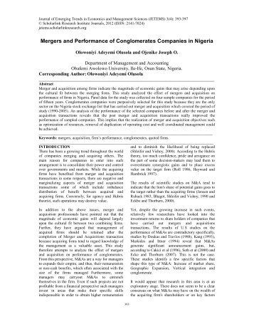 Mergers and Performance of Conglomerates Companies in Nigeria