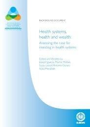 Health systems, health and wealth: - STG / Health Management Forum