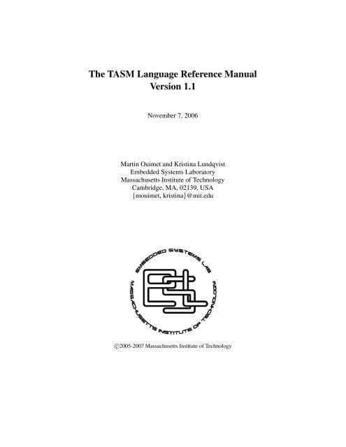 The TASM Language Reference Manual Version 1 1 - Synrc