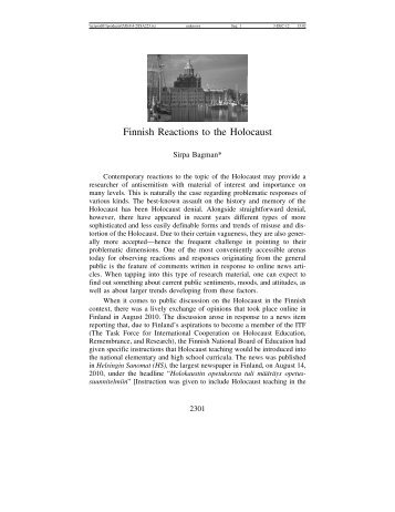 Finnish Reactions to the Holocaust - Journal for the Study of ...
