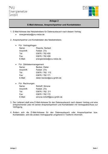Anlage 2 E-Mail-Adresse, Ansprechpartner und Kontaktdaten - PVU ...