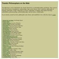 Theistic Philosophers - Philosophy and Religion
