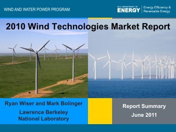 2010 Wind Technologies Market Report - Electricity Market and Policy