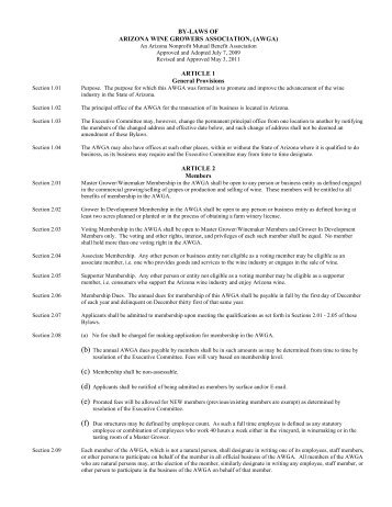 Current By-laws (5-3-11).pdf - Arizona Wine Growers Association