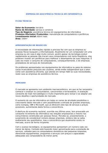 EMPRESA DE ASSISTÊNCIA TÉCNICA EM INFORMÁTICA FICHA ...