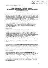 Neue Studiengänge in Köln und Düsseldorf - Hochschule Fresenius