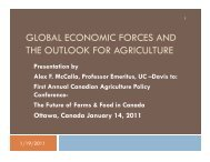 global economic forces and the outlook for agriculture