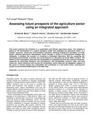 Assessing future prospects of the agriculture sector using an ...