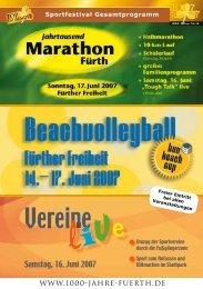 Sportfestival Gesamtprogramm - 1000 Jahre Fürth
