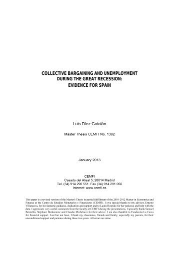 collective bargaining and unemployment during the great ... - Cemfi