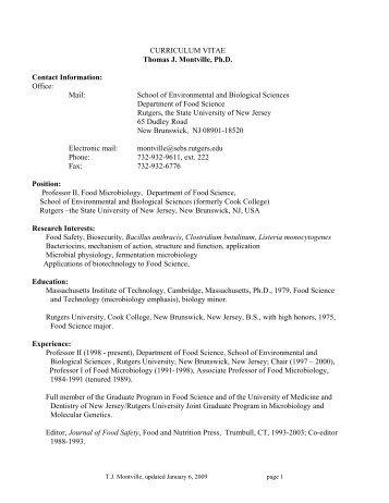 Department of food science essay