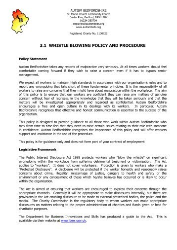 31 whistle blowing policy and procedure autism bedfordshire