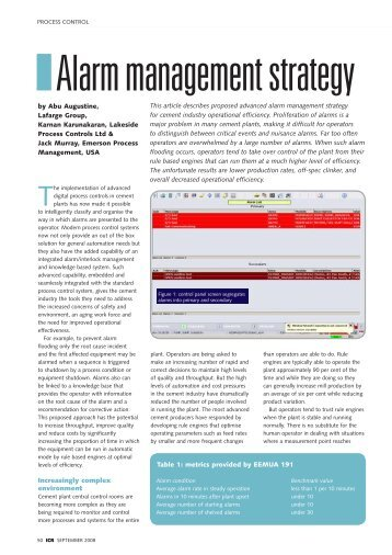 Alarm management strategy - Emerson Process Experts