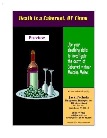 Wine and Cheese Murder Mystery Party Kit - Mysteries on the Net