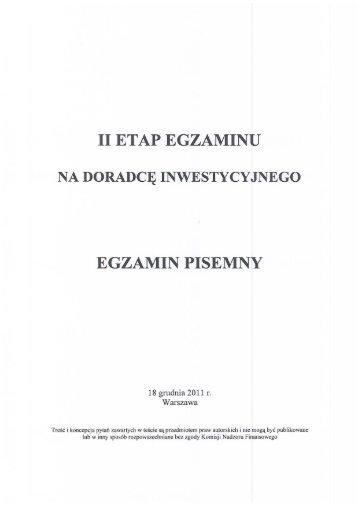 Test z egzaminu przeprowadzonego w dniu 18 grudnia 2011 r.