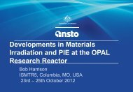 007 Developments in Materials Irradiation and PIE at the OPAL ...