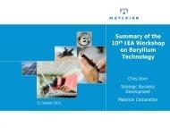 002 Summary of the 10th IEA Workshop on Beryllium Technology
