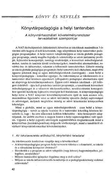 Könyvtárpedagógia a helyi tantervben - EPA - Országos Széchényi ...