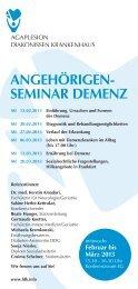 seminar demenz - AGAPLESION BETHANIEN KRANKENHAUS