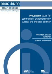 Prevention research summaries - DrugInfo - Australian Drug ...