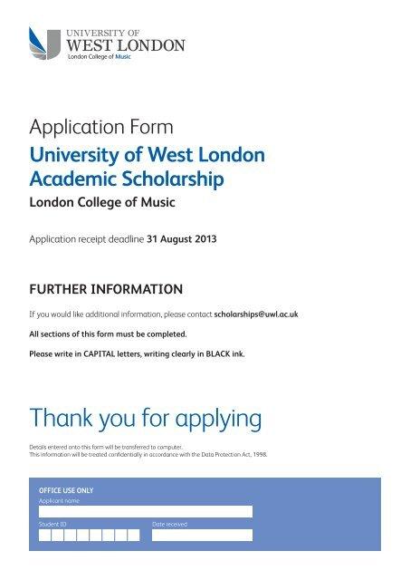 Download Application Form Pdf 97 Kb University Of West London