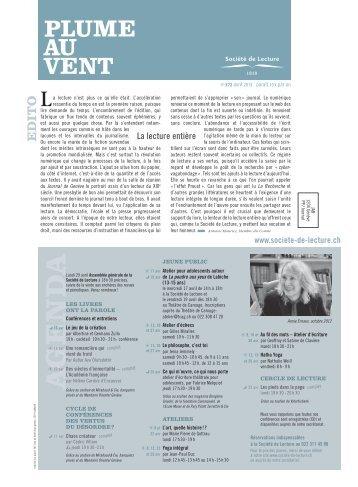 Edition de avril 2013 - Societe de Lecture Geneve