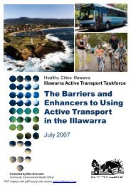 Barriers and Enhancers to Using Active Transport in the Illawarra 2007