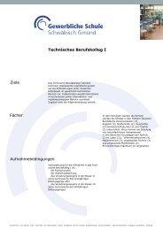 Ziele Technisches Berufskolleg I Fächer Aufnahmebedingungen