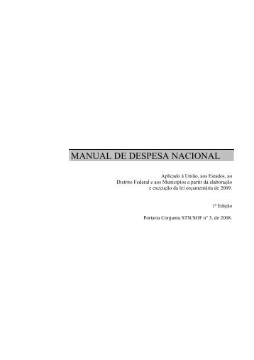Manual da Despesa Nacional - Sefaz - AL