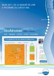 Bilan 2011 de la qualité de l'air à proximité du duplex A86 - Airparif