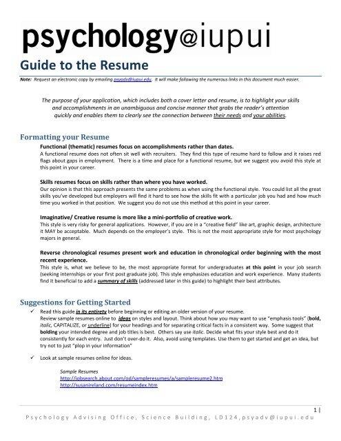 Guide To The Resume Psychology Iupui