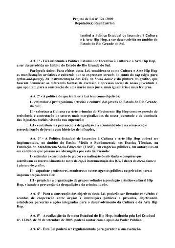 Raul Carrion Institui a Política Estadual de Incentivo à Cultura e à ...