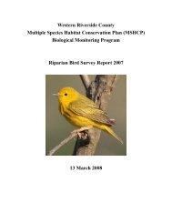 Riparian Bird Survey Report 2007 - Western Riverside County ...