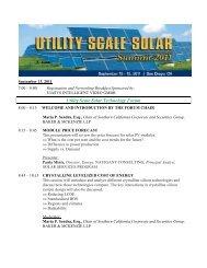 Utility Scale Solar Technology Forum - Infocast