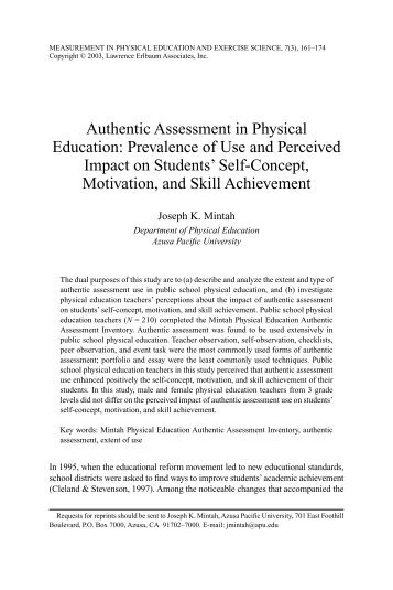 Authentic Assessment in Physical Education ... - thenewPE