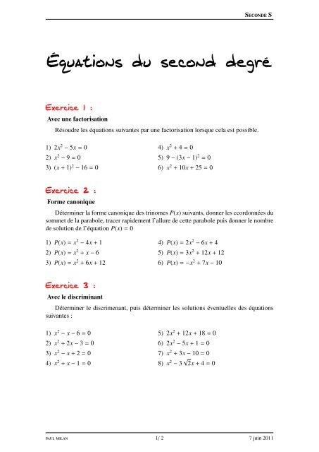 Exercice Sur Les A C Quations Du Second Degra C Lyceedadultes Fr