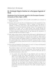 Dr. Christoph Zöpel's Outline for a European Agenda of Work