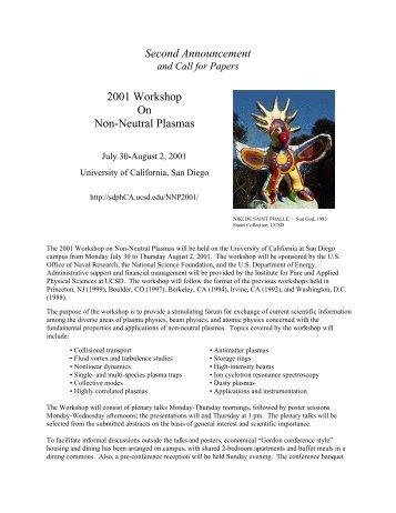 Second Announcement 2001 Workshop On Non-Neutral Plasmas