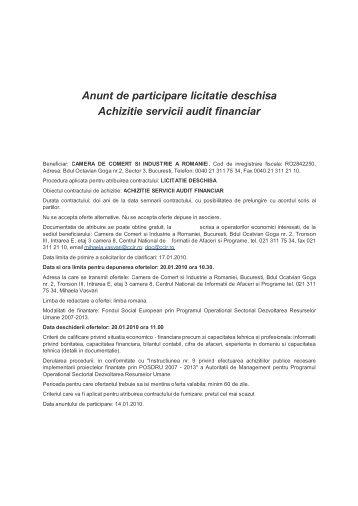 Achiziţie servicii de audit financiar - Camera de Comert si Industrie a ...