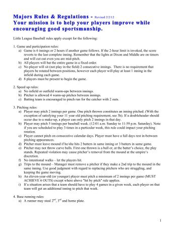 Majors Rules & Regulations - Revised 2/2/12 Your mission is to help ...
