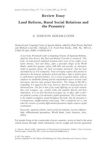Agrarian reform essay