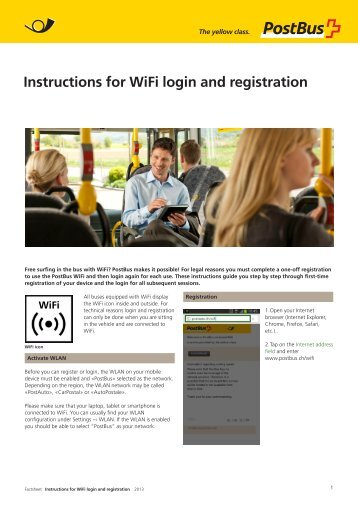 Instructions for WiFi login and registration - PostBus