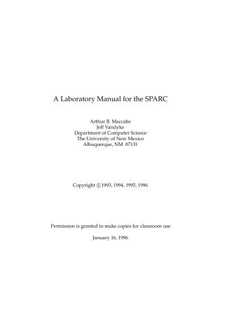 A Laboratory Manual for the SPARC - Department of Information ...